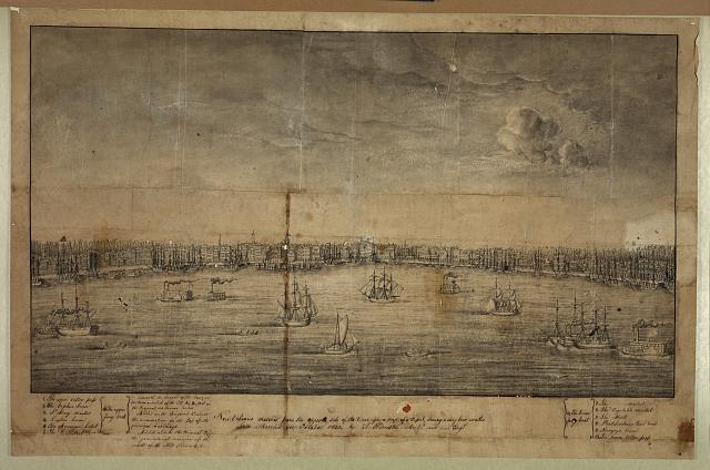 New Orleans, sketched from the opposite side of the river upon a mast of a vessel during a very low water