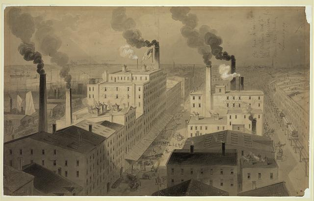 "[View of B.T. Babbitt's ""best soap"" factory buildings, New York City]"
