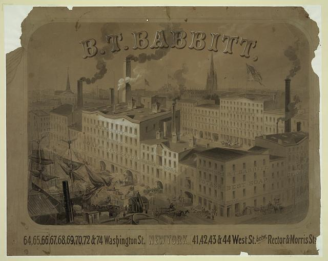 B.T. Babbitt, 64, 65, 66 ... Washington St., New York, 41, 42, 43, & 44 West St., betw. Rector & Morris Sts.