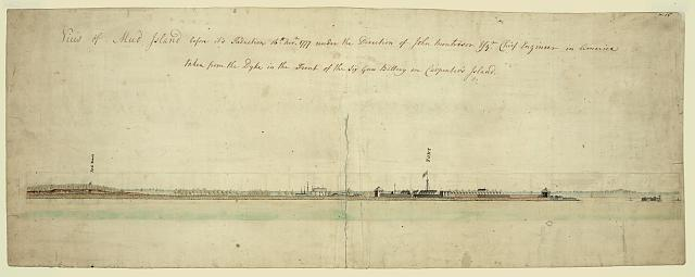 View of Mud Island before its reduction, 16th Novr., 1777, under the direction of John Montresor, Esqr., chief engineer in America, taken from the dyke in front of the six gun battery on Carpenter's Island