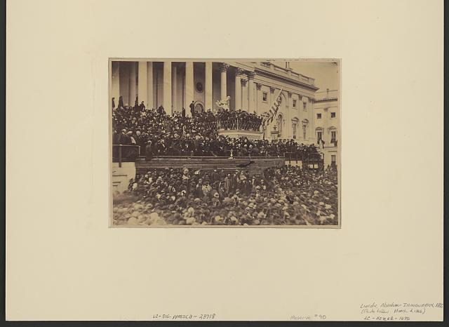 [Abraham Lincoln delivering his second inaugural address as President of the United States, Washington, D.C.]