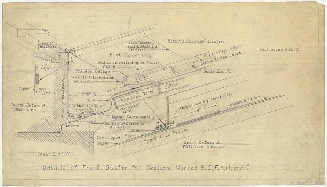 "[Alterations to the Library of Congress Thomas Jefferson Building (""gutters and battens""), Washington, D.C. Details of front gutter for sections marked B, C, F, K, H, and I]"