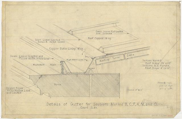 "[Alterations to the Library of Congress Thomas Jefferson Building (""gutters and battens""), Washington, D.C. Details of gutter for sections marked B, C, F, K, N, and O. Court side.]"