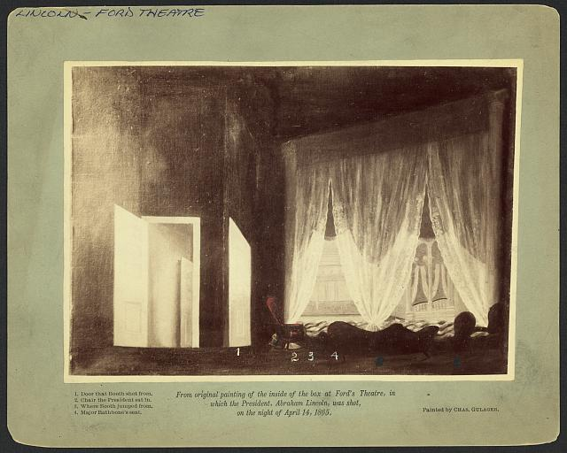 [Photograph of a painting of Ford's Theatre interior, showing where President Abraham Lincoln was assassinated]