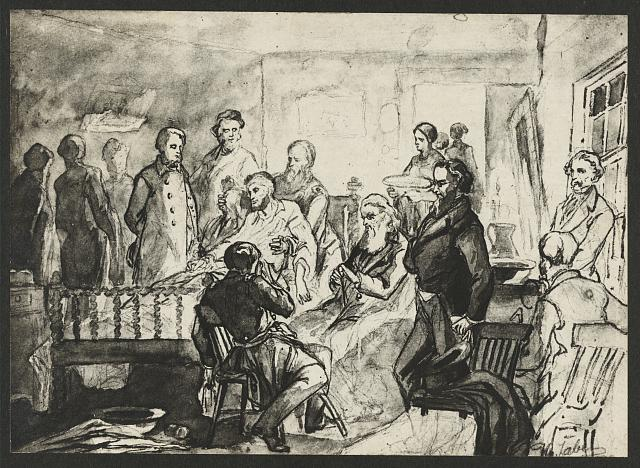 [Drawing of the death bed scene of President Abraham Lincoln, with a man holding Lincoln]
