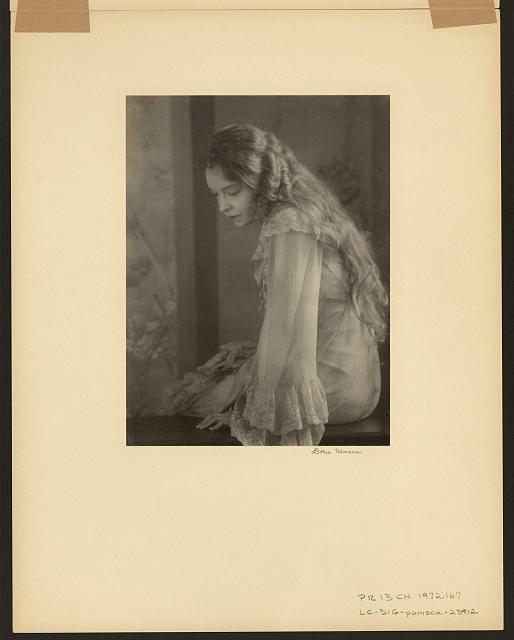"[Lillian Gish, three-quarter length portrait, sitting, facing left, as Yelena Andreyevna in the 1930 production of ""Uncle Vanya""]"