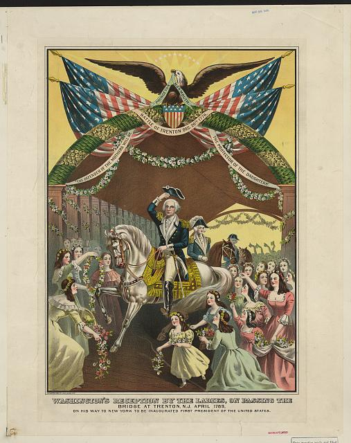 Washington's reception by the ladies, on passing the bridge at Trenton, N.J. April 1789, on his way to New York to be inaugurated first president of the United States
