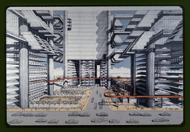 [Lower Manhattan Expressway, New York City. Rendering of streetscape]