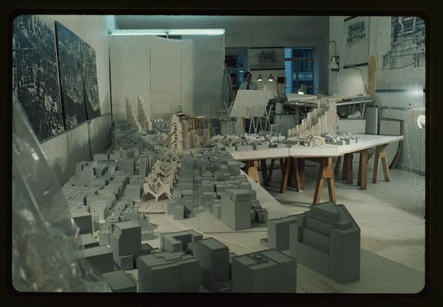 [Lower Manhattan Expressway, New York City. Model under construction in office]