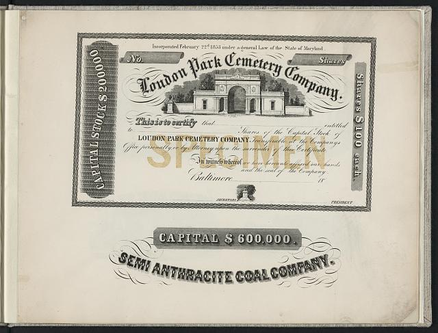 [Print speciman of stock certificate for Loudon Park Cemetery Company and letterhead for Semi Anthracite Coal Company]