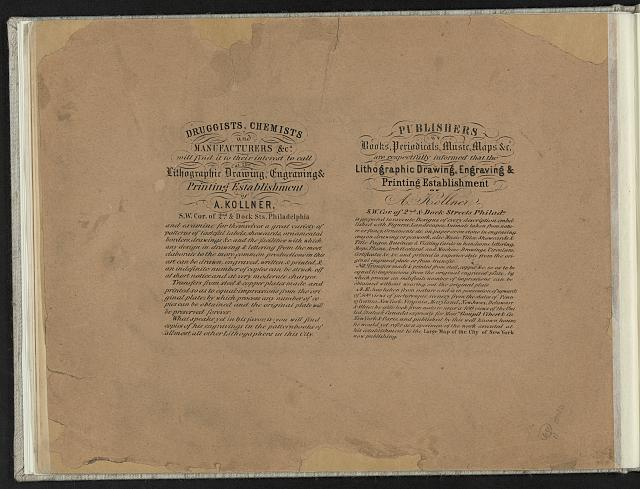[Advertisements for the printing establishment of A. Kollner, Philadelphia]