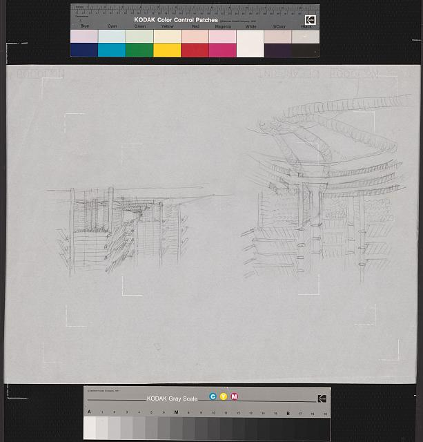[Lower Manhattan Expressway, New York City. Perspective sketches of transit hub and of streetscape]