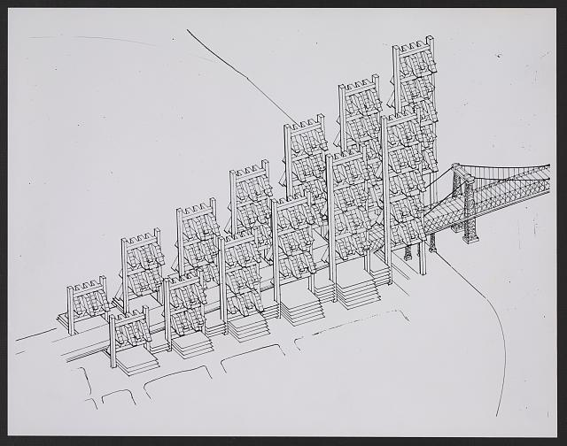 [Lower Manhattan Expressway, New York City. Bird's-eye perspective drawing of towers at bridge]