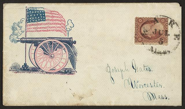 [Civil War envelope showing a firing cannon and an American flag standing in a pile of cannon balls]