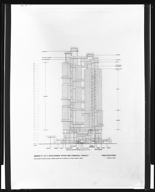 [Bond Centre (now Lippo Centre), Hong Kong, China. Early scheme with bridges. Elevation]