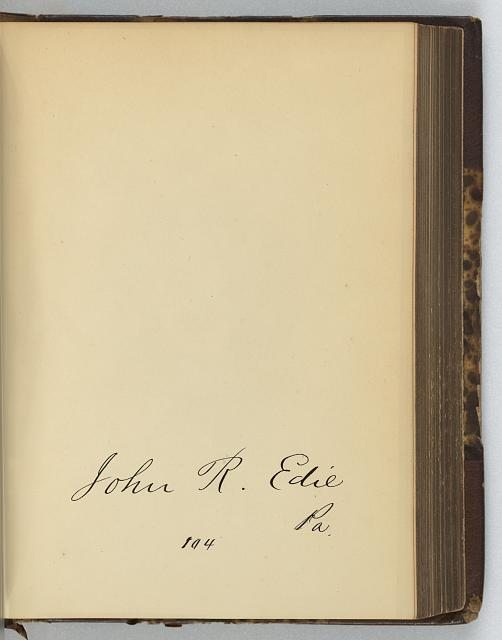 [John R. Edie, Representative from Pennsylvania, Thirty-fifth Congress, original signature]