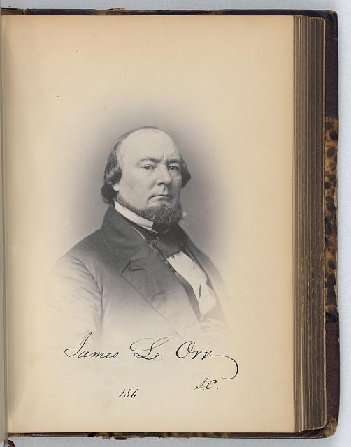 [James L. Orr, Representative from South Carolina, Thirty-fifth Congress, half-length portrait]