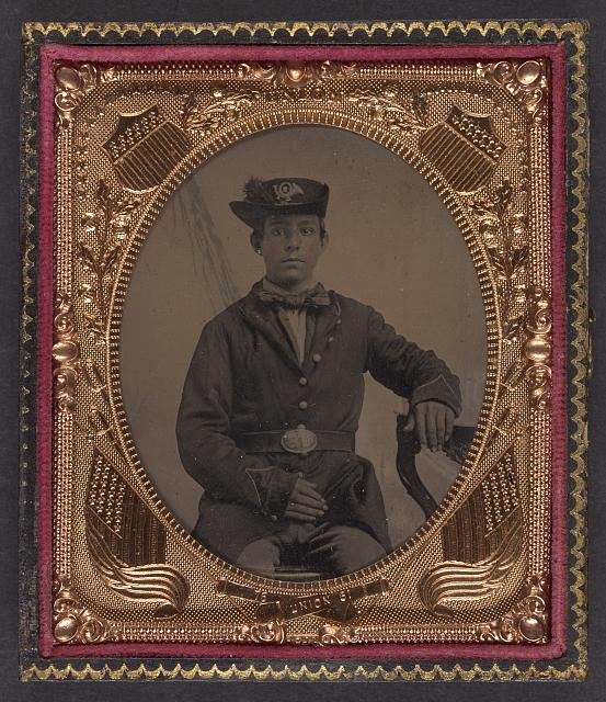 [Unidentified soldier in Union uniform of a 2nd regiment with infantry Hardee hat]
