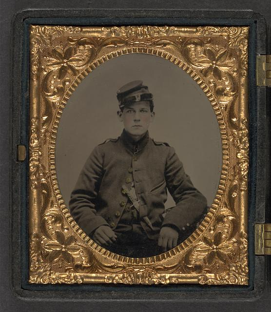 [Unidentified young soldier in Union uniform with Bowie knife]