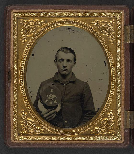 [Unidentified soldier in Union uniform with Company E, 12th Regiment New Hampshire Volunteers hat]