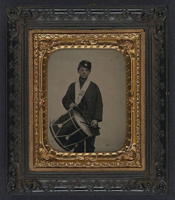 [Samuel W. Doble of Company D, 12th Maine Infantry Regiment, with drum]
