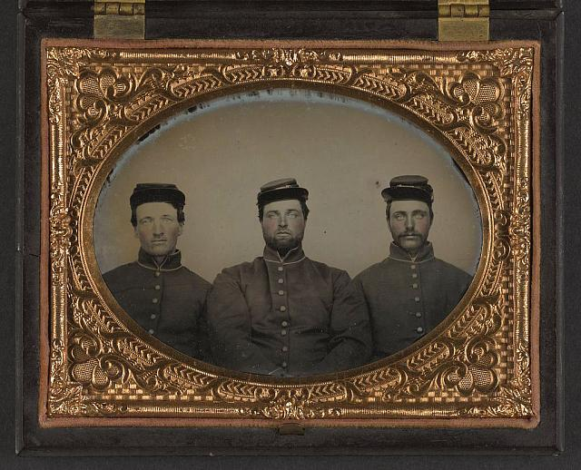 [Three unidentified soldiers in Union uniforms and forage caps]