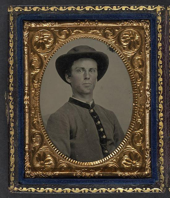 [Unidentified soldier in Confederate uniform and slouch hat]