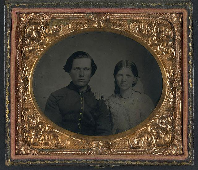 [Unidentified soldier in Union uniform and unidentified woman]