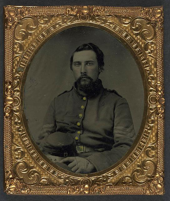 [Unidentified soldier in Union sergeant&#39;s uniform with Company M forage cap]