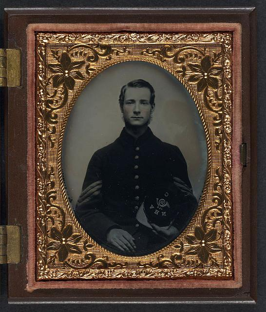 [Unidentified soldier in Union sergeant's uniform with Company C, 13th New Hampshire Infantry Regiment kepi]