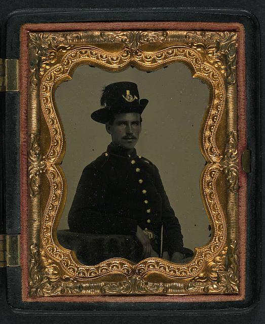 [Unidentified soldier in Union uniform and infantry Hardee hat with plume]