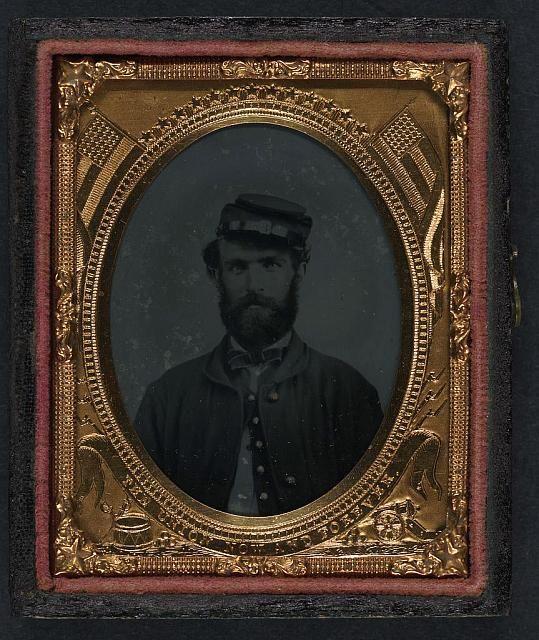 [Unidentified soldier in Union sack coat and forage cap]