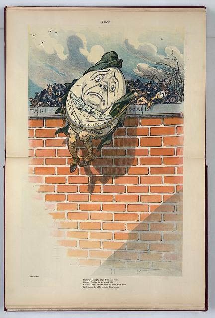 Humpty Dumpty slips from the wall; Humpty's due for an awful fall