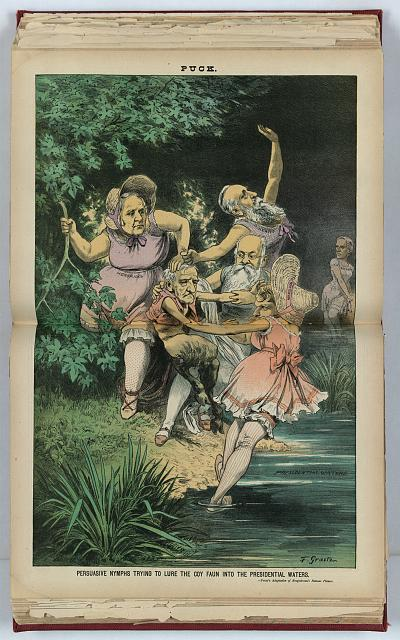 Persuasive nymphs trying to lure the coy faun into the presidential waters