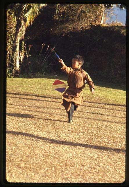[Boy playing with kite, Sikkim]