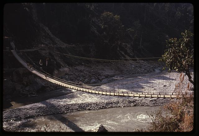 [Suspension bridge over river, Sikkim]