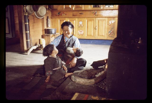 [Mother and children of the Jorbu family sit by the hearth, Lachung, Sikkim]