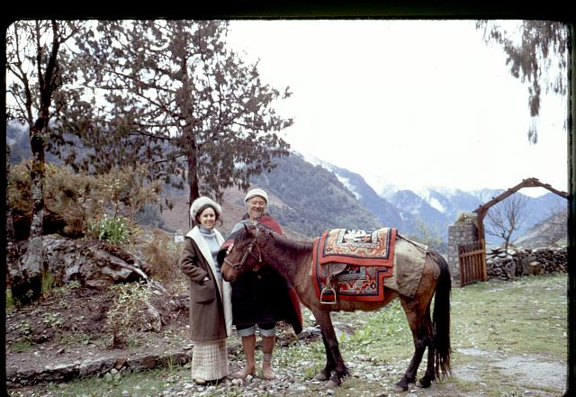 [Alice Kandell with villager and horse, Sikkim]