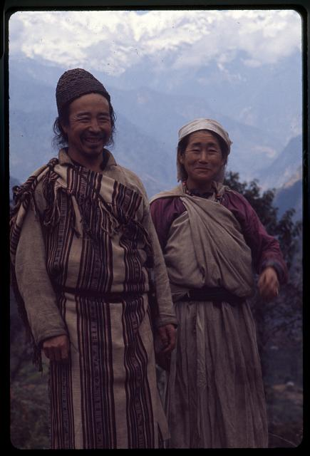 [Lepcha man and woman standing near Singhik, Sikkim]