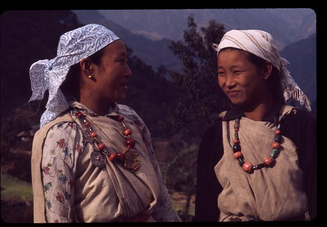 [Lepcha women in traditional clothing in Singhik, Sikkim]