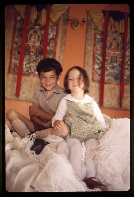 [Prince Palden Gyumed and Princess Hope Leezum seated on white scarves, Sikkim]