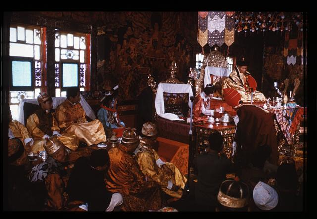 [Royal family looks on during coronation ceremony of Palden Thondup Namgyal and Hope Cooke, Gangtok, Sikkim]
