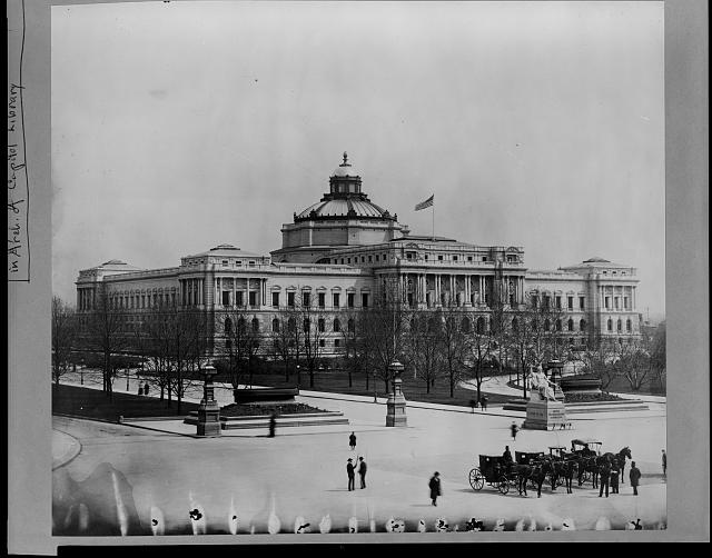[View of the completed Library of Congress building from the U.S. Capitol grounds, ca. 1900]