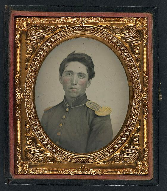 [Private John Ryan of Company H, 2nd Rhode Island Infantry Regiment in uniform with shoulder scales]