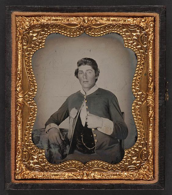 [Unidentified soldier in Virginia Volunteer uniform and secession badge]