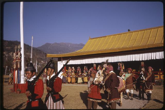 [Palace guards leading the procession of men with horses? at the New Year's ceremony, Gangtok, Sikkim]