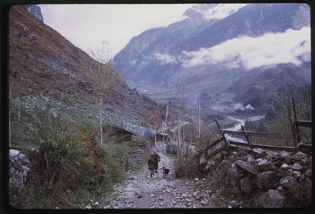 [People walking along mountain path, Lachung, Sikkim]