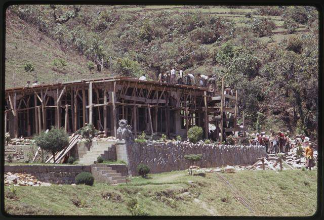 [People building a structure, near Rumtek monastery, Sikkim]