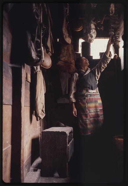 Rinchen's wife, storeroom, yak cheese