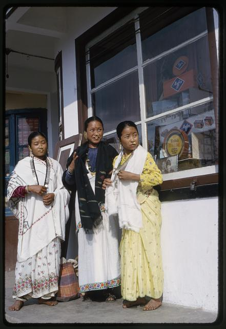 Nepali girls, coronation time. Tse Ten Tashi studio, photo in window, Hope's husb[and]